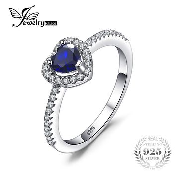 JewelryPalace Heart Of The Ocean 0.6ct Created Blue Sapphire 925 Sterling Silver Ring Fine Jewelry Romantic Gift for Women