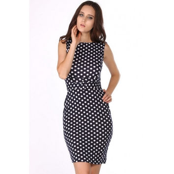 New Celeb Style Dot Pattern Ladies Blue Pencil Evening Slimming Panel Tea Dress