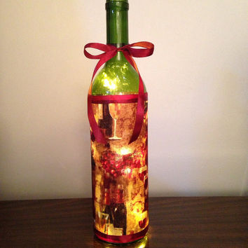 Burgundy wine bottles and glasses lamp, wine bottle light, accent lamp, night light, bottle with lights