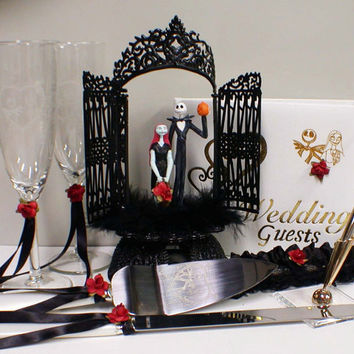 Nightmare Before Christmas Wedding Cake Topper Lot Disney Glasses Knife Book