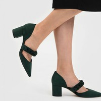 Dark Green Chain Detail Pointed Heels | CHARLES & KEITH