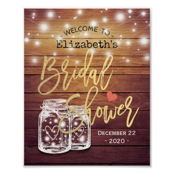 Rustic Wood Mason Jar Lights Bridal Shower Welcome Poster