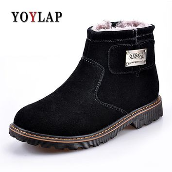 Men Winter Fashion Snow Boots Doc Dr Martins Shoes Men Cow suede Genuine Leather Warm shoes Outdoor Leisure Dr. Martens Boots