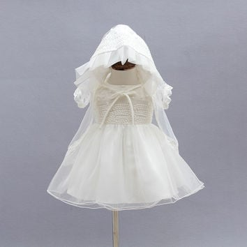 Newborn Christening Gown Party Wedding Dress with Bonnet and Cape Elegant Baptism Dresses for 1 year baby girl birthday3PCS/Set