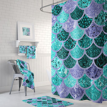 Mermaid Decor, Mermaid Bath Curtain, Mermaid Curtain, Mermaid Shower, Mermaid Bathroom,  Mermaid Scale, Mermaids  - Size: 71in x 74in