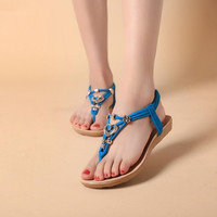 Women Summer Bohemia Buckle Flat Shoes Beach Sandals Thong Slippers Flip Flops = 1928835716