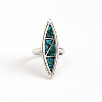 Vintage Sterling Silver Turquoise Chip Inlay Ring - Size 5 1/4 Retro Southwestern Native American Style Long Marquise Blue Gem Jewelry