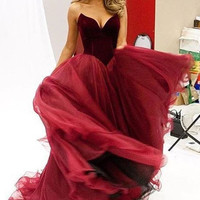 Velvet Chiffon Prom Dresses,Red Prom Dresses,Long Evening Dress