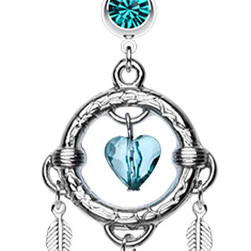 Heart Hoop Feather Dream Catcher Belly Button Ring