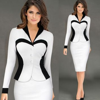 Elegant Vintage Peplum Contrast Lapel Wear To Work Office Business Vestidos Plus Size Bodycon Sheath Womens Dress two piece