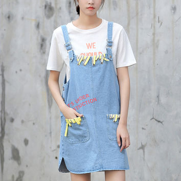 Yichaoyiliang Sweet Girls Light Blue Denim Dress Knee Length Front Pockets Letters Overalls Dresses Metal Buttons Buckles