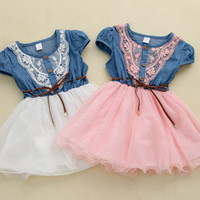 Baby Girl Toddler Broderie Denim Lace Summer Patchwork Mesh Dress