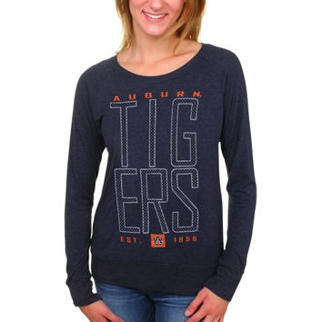 Auburn Tigers Women's Burnout Meshey Long Sleeve Raglan T-Shirt – Navy Blue