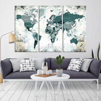 67601 - Large Wall Art Push Pin World Map, Push Pin, World Map, Wall Art Canvas, Push Pin Map, Navy Blue Wall Art, Pushpin World Map Print,