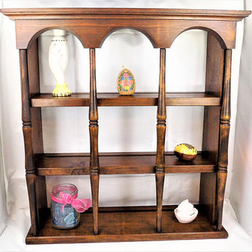 Wood 3 Tier Shelving, Display Curio Cabinet, Vintage Home Decor