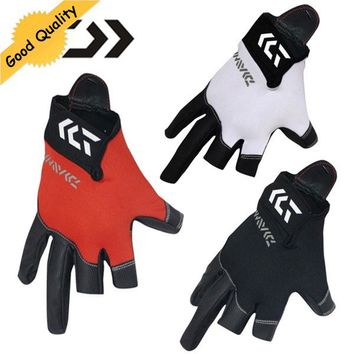 Three or Five cut finger leather fishing gloves New Top Quality Anti Slip Fishing Gloves Outdoor Sports Slip-resistant gloves
