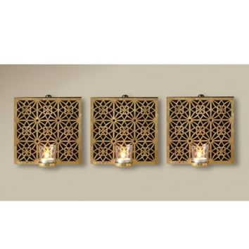 Amelia Square Wall Sconce with Glass Votive in Gold (Set of 3)