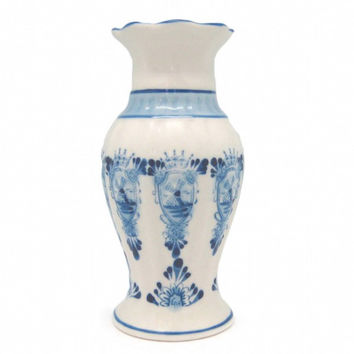 Blue and White Vase with Fluted Crown