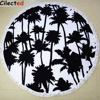 Cilected Summer Microfiber Printed Round Beach Towels With Tassel Palm Tree Print Circle Beach Towel Boho Blanket Cover 150cm