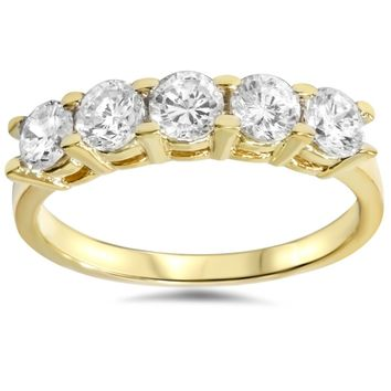 JewelMore™ 14k Yellow Gold 1ct TDW Diamond Five Stone Anniversary Ring (I-J, I2-I3)