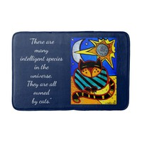 Cats Rules Quote Cat, Sun, Moon and Stars Bath Mat