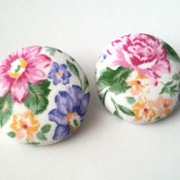 Vintage inspired floral extra large fabric button earrings
