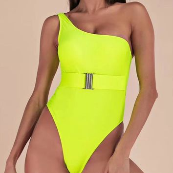 Seychelles Neon Green One Shoulder Strap Swimsuit With Belt