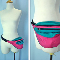 Vintage 1980s Fanny Pack / Pink Teal Three Pocket Pouch