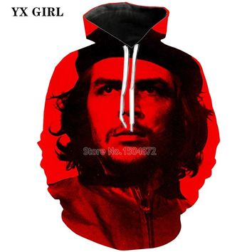 NEW Fashion Male 3d Printed Che Guevara Hoodie For Men Autumn Hooded Pocket Sweatshirt High Quality Pullover Sweatshirts TOPS