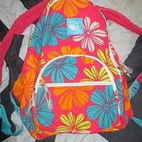 Womens OP Neon Floral Canvas Backpack Travel Bookbag Pink Green Teal