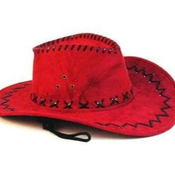 1 NEW RED COLOR LEATHER style COWBOY HAT new cowgirl mens womens WESTERN WEAR