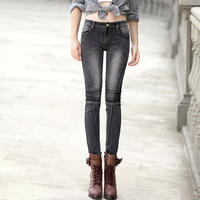 Women's embroidery slim skinny jeans Fashion black blue stretch denim pencil pants Long trousers