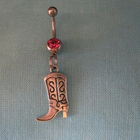 Belly Button Ring - Body Jewelry - Silver Cowgirl with Light Pink Gem Stone Belly Button Ring
