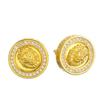 Jewelry Kay style Men's Iced Out 14k G/S Plated Pave Lion Head CZ Screw Back Earrings SHS 486