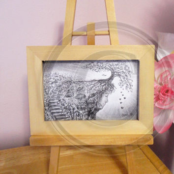 Framed Original Charcoal Illustration with Easel ~ Cliff Face, Tree, Staircase, Landscape, Surreal Art, Fantasy Art, Abstract, Nature Art