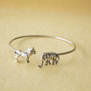Lion cuff bracelet with an elephant wrap style