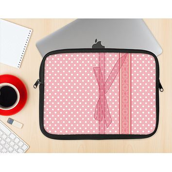 The Subtle Pink Polka Dot with Ribbon Ink-Fuzed NeoPrene MacBook Laptop Sleeve