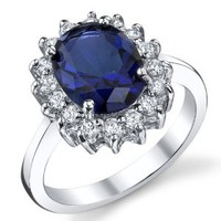 Solid Sterling Silver Kate Middleton's Engagement Ring with Blue Sapphire Cubic Zirconia Replica Sizes 5 to 9: Jewelry: Amazon.com