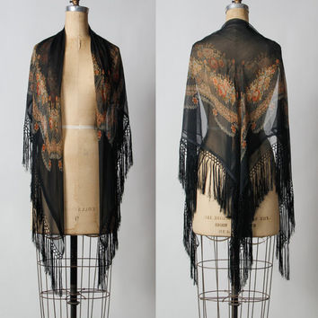 1920s Silk Scarf Shawl with Fringe and Floral Print