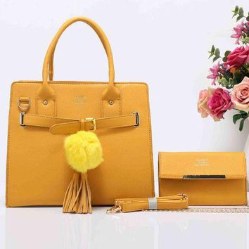 Gotopfashion HERMES Fashion Tassel Ball  Women Shopping Leather Crossbody Satchel Shoulder Two Piece Yellow I-XS-PJ-BB
