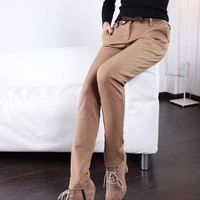 Low Waist Plain Thickened Pants,Cheap in Wendybox.com