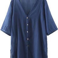 Navy Blue Short Sleeve Button Down Blouse