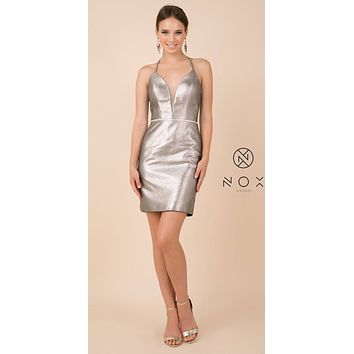 Shimmering Lace-Up Back Short Party Dress Metallic Silver