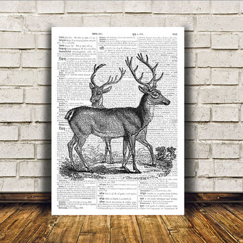Animal art Deer poster Dictionary print Modern decor RTA29