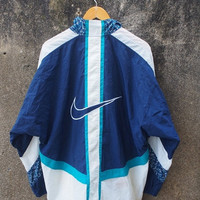 ON SALE 20% Vintage 80's NIKE Big Logo Swoosh Streetwear Trainer Windbreaker Nylon Jacket Size L
