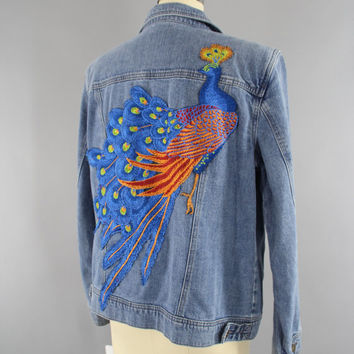 Vintage Style Denim Jacket with Royal Blue Peacock Embroidery / Embroidered Jean Jacket / Art Nouveau / Size Medium