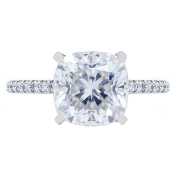 **NEW Cushion Crushed Ice Moissanite 4 Prongs Diamond Accent Ice Solitaire Ring