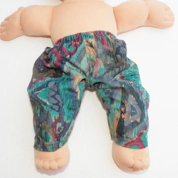 "BITTY BABY CLOTHES, Cabbage Patch Clothes- for 14 inch doll- also fits 15"" Bitty Baby, Blue Green Red Gold Suede Faux Suede Pants"