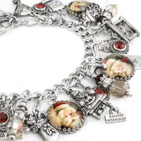The Vintage Santa, Silver Charm Bracelet, Holiday Jewelry