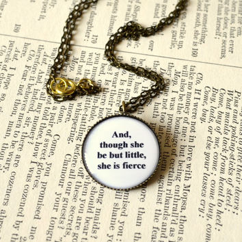 Shakespeare quote necklace. Midsummer Night's Dream, graduation, summer gift, round, antique bronze
